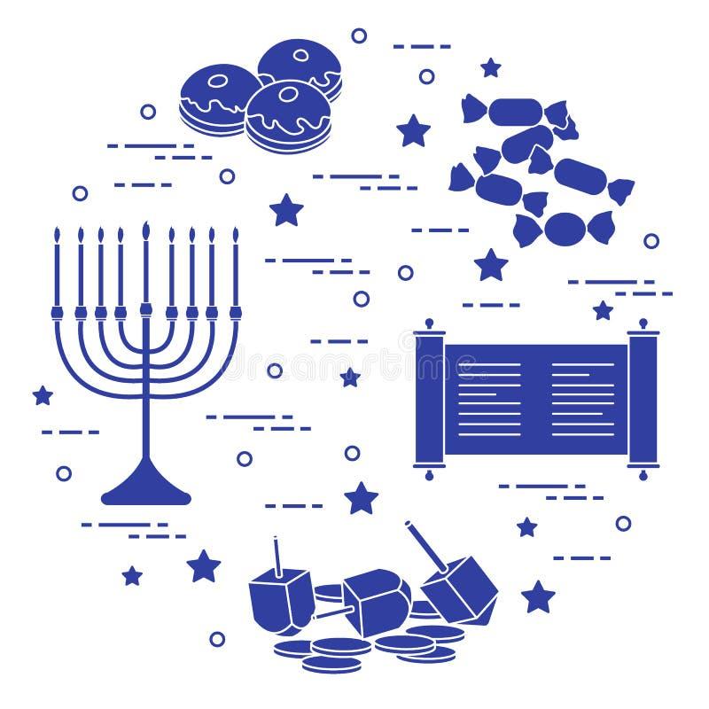 Día de fiesta judío Jánuca: dreidel, sivivon, menorah, monedas, buñuelo ilustración del vector