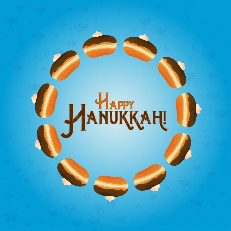 Día de fiesta judío de Jánuca, tarjeta de felicitación ilustración del vector