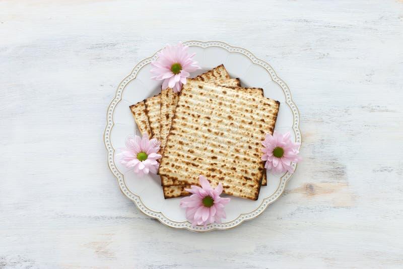 Día de fiesta judío de la pascua judía del concepto de la celebración de Pesah Visión superior, endecha plana imagenes de archivo