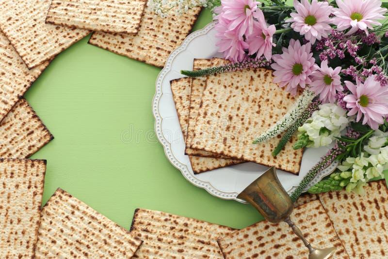 Día de fiesta judío de la pascua judía del concepto de la celebración de Pesah Visión superior, endecha plana fotografía de archivo libre de regalías