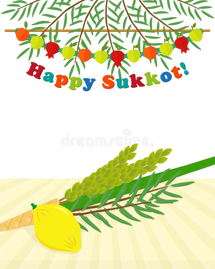 Día de fiesta judío de Sukkot, cuatro especies stock de ilustración