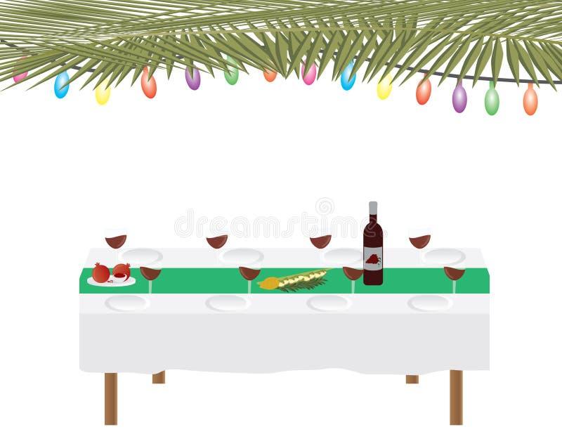 Día de fiesta judío tabla tradicional de Sukkah y de cena en el fondo blanco stock de ilustración