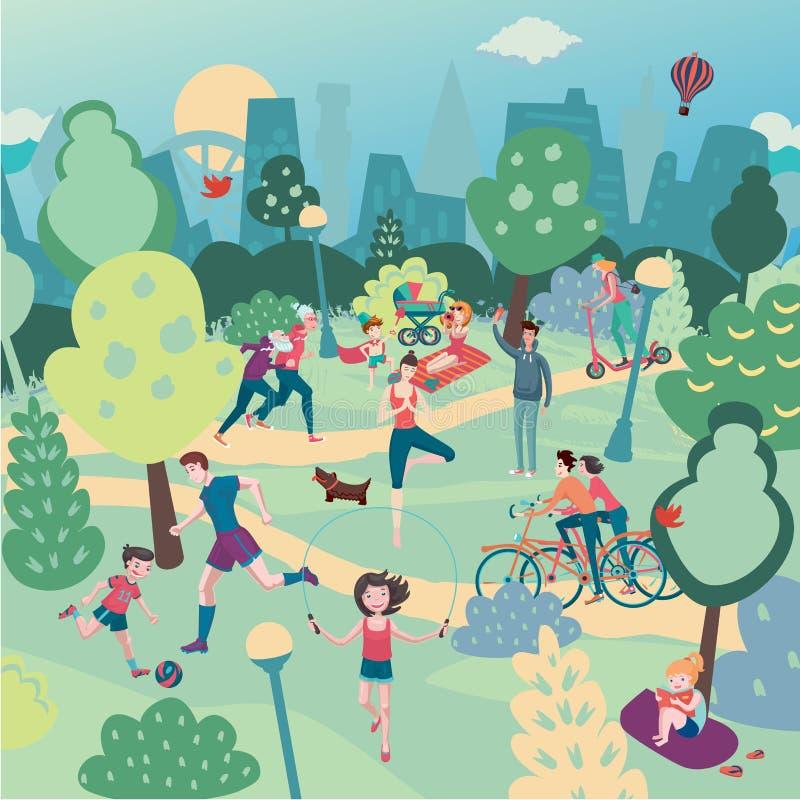 Día de fiesta de la familia en la naturaleza Aerialview del parque de la ciudad con la gente Deporte del verano y paisaje panorám stock de ilustración
