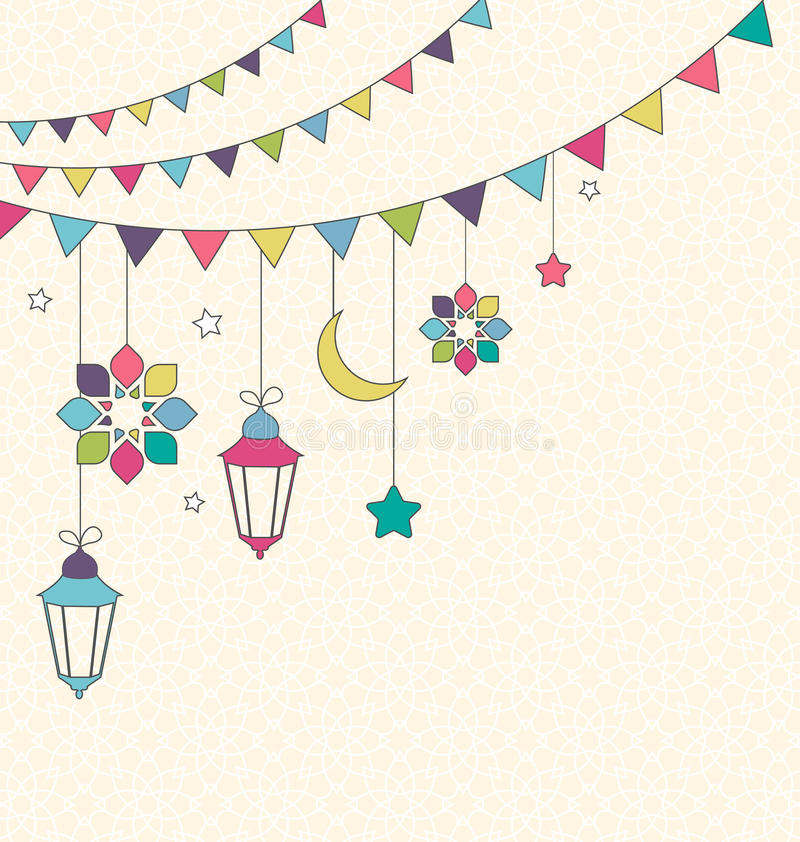 Día de fiesta musulmán Ramadan Kareem Generous Month Flat Card con seno ilustración del vector