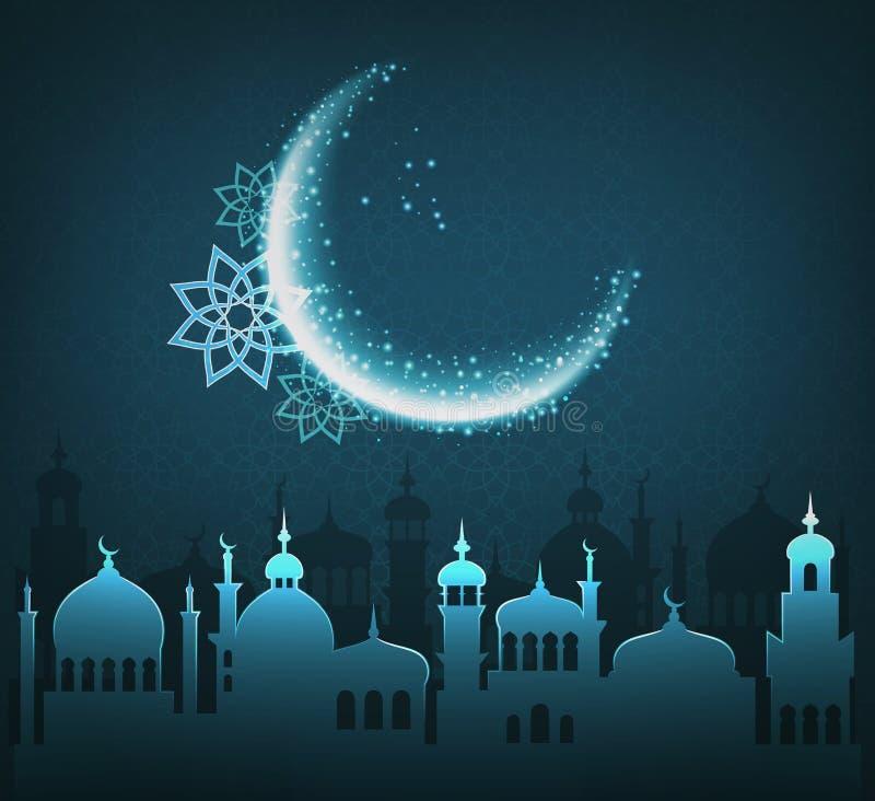 Día de fiesta musulmán Ramadan Kareem Generous Month Greet Card en azul stock de ilustración