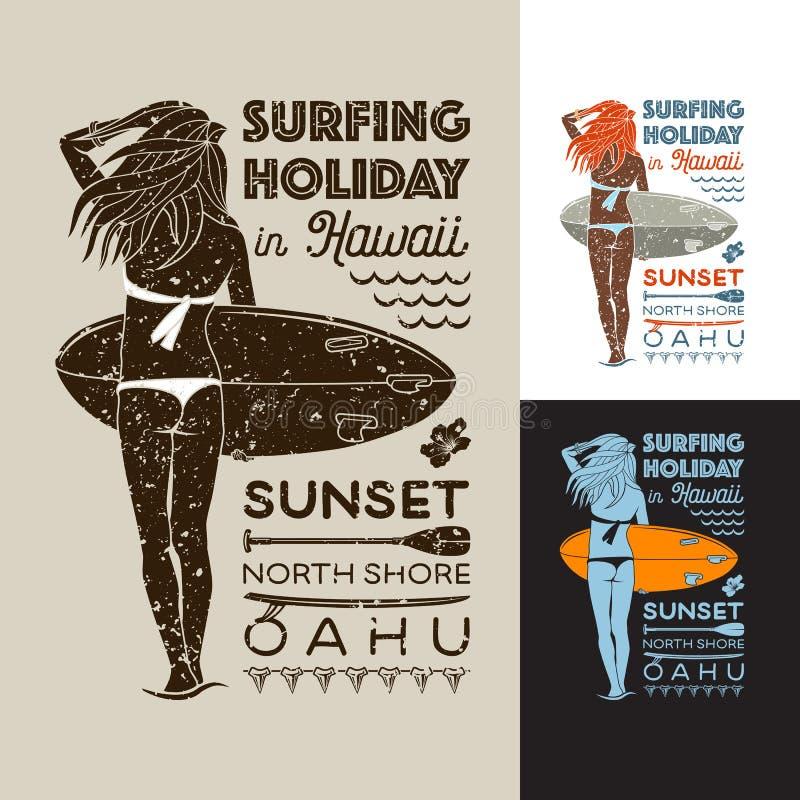 Día de fiesta que practica surf en Hawaii ilustración del vector