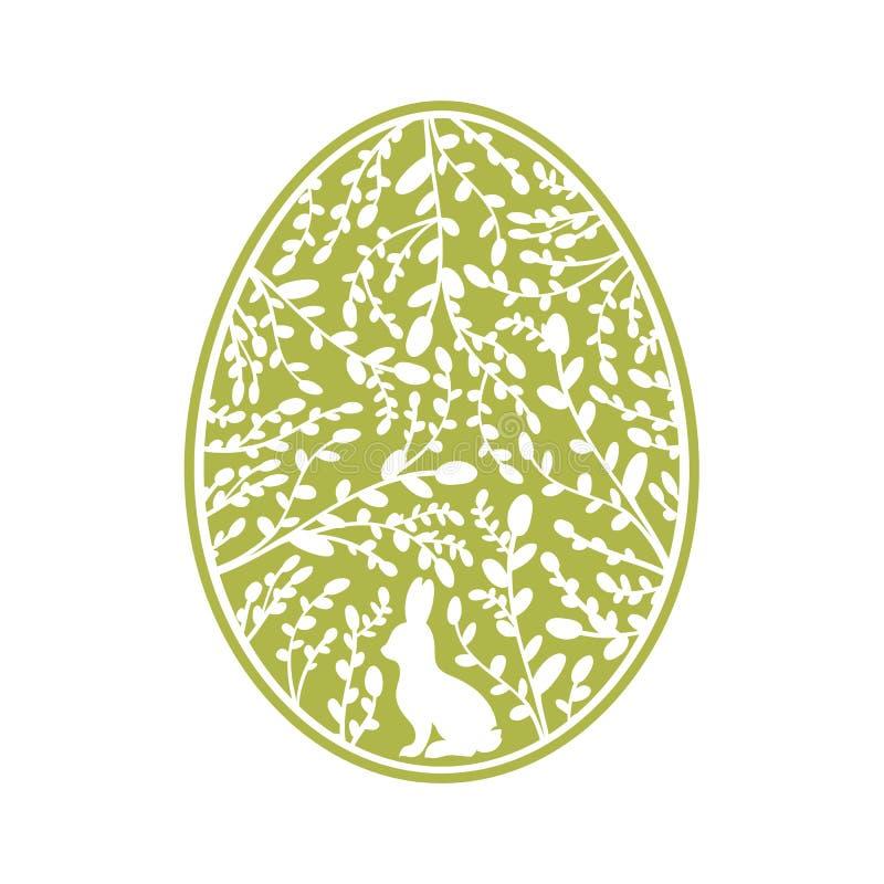 Día de fiesta religioso cristiano de Pascua Etiqueta con las liebres y el sauce en el huevo libre illustration