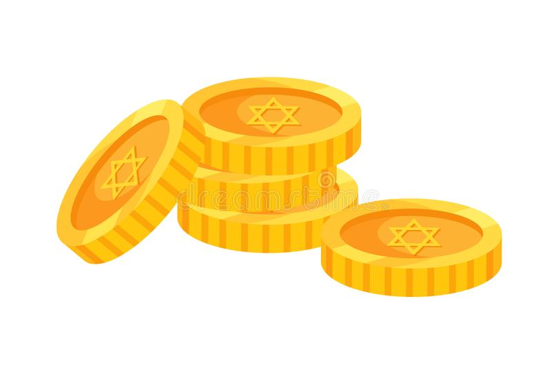 Día de fiesta tradicional de Jánuca, monedas de oro con símbolos del día de fiesta stock de ilustración