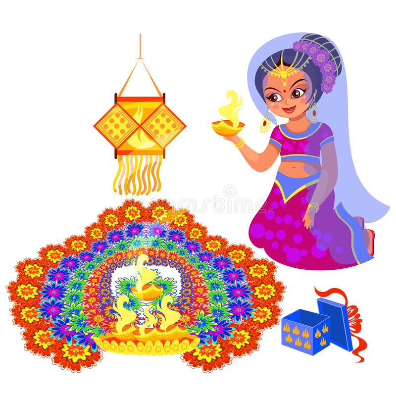 Día de fiesta y mujer de Diwali con el fuego cerca del rangoli stock de ilustración