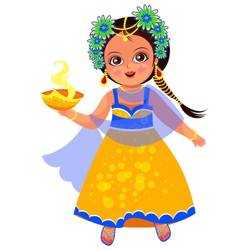 Día de fiesta y niña de Diwali con el cuenco de la llama stock de ilustración