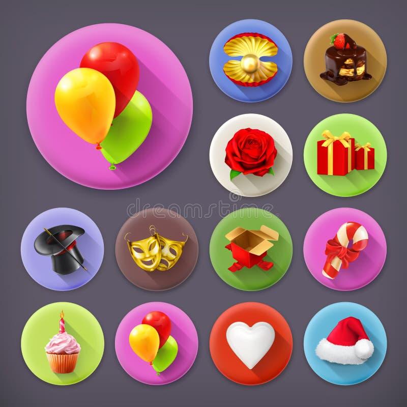 Día de fiesta y regalos, sistema del icono stock de ilustración