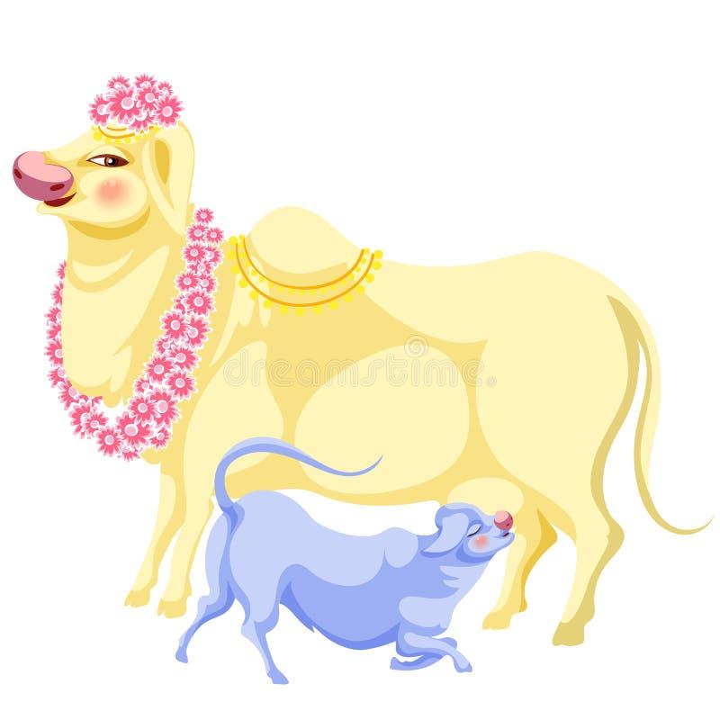 Día de fiesta y vaca de Diwali en flores como animal santo stock de ilustración