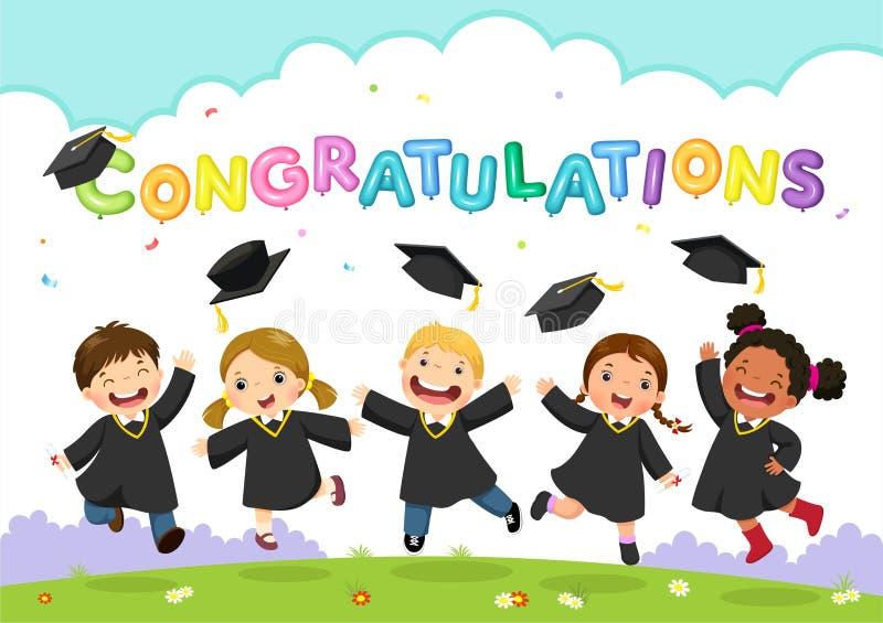 Día de graduación feliz Ejemplo del vector del celebratin de los estudiantes stock de ilustración