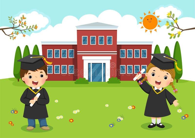 Día de graduación feliz La escuela embroma la graduación delante de la escuela stock de ilustración