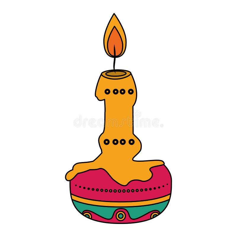 Día de icono de ofrecimiento de la vela de muerte ilustración del vector