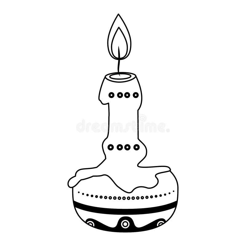Día de icono de ofrecimiento de la vela de muerte en blanco y negro libre illustration