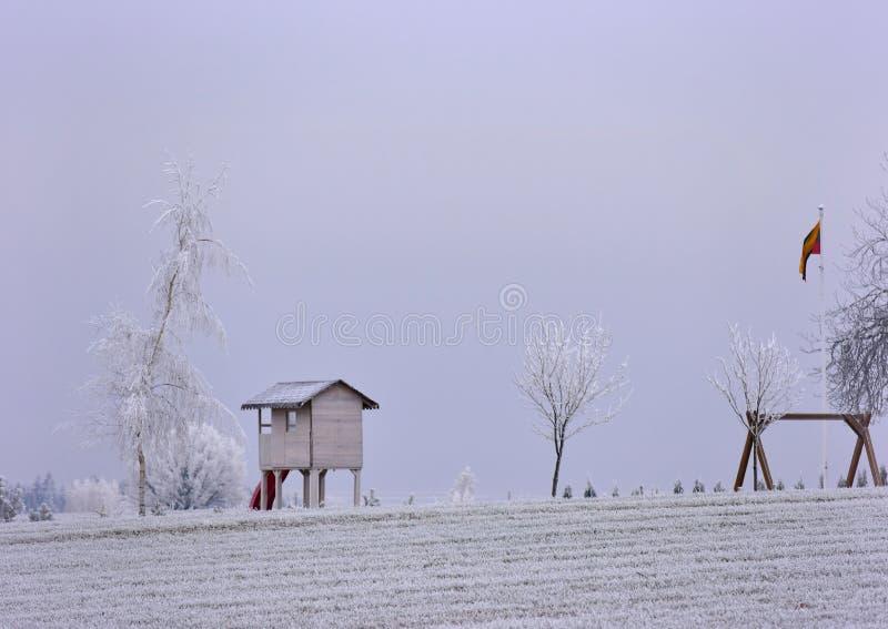 Día de invierno brumoso Paisaje de Lituania imagen de archivo libre de regalías