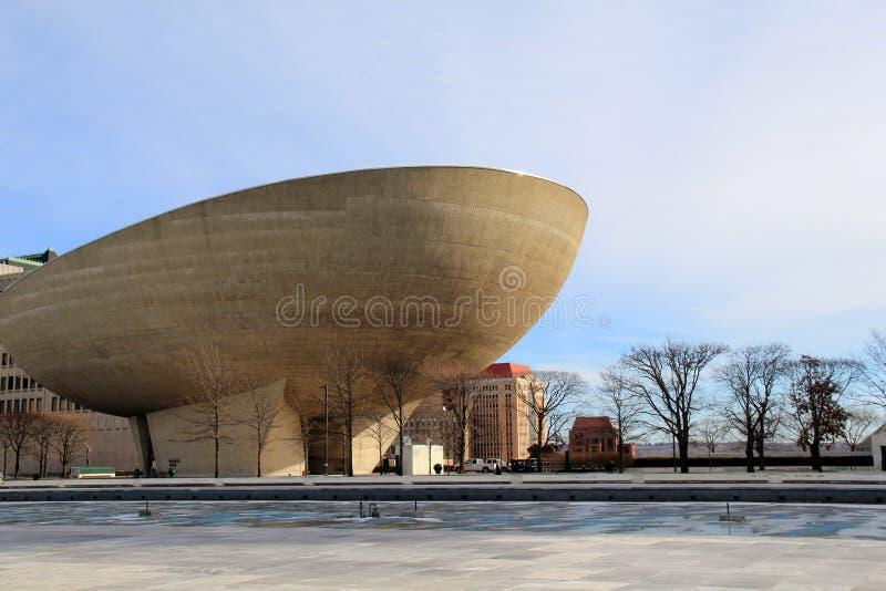 Día de invierno reservado, con la vista del huevo, el centro para las artes interpretativas, Nueva York, 2016 de Albany foto de archivo libre de regalías