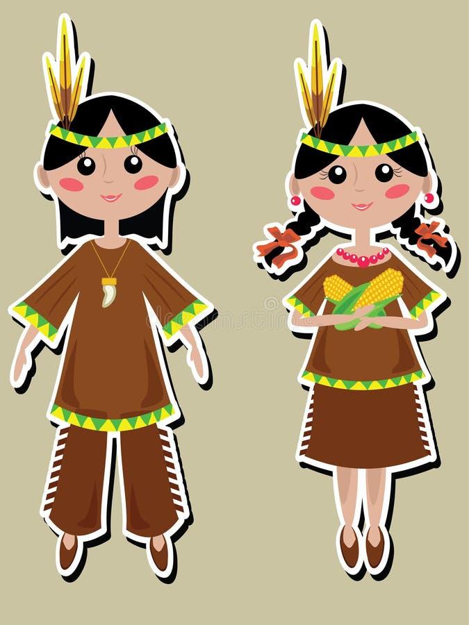 Día de la acción de gracias, cabritos indios stock de ilustración