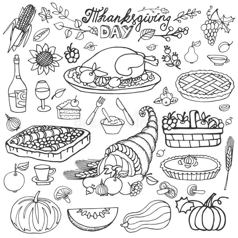 Día de la acción de gracias Iconos de la comida del garabato Linearset ilustración del vector