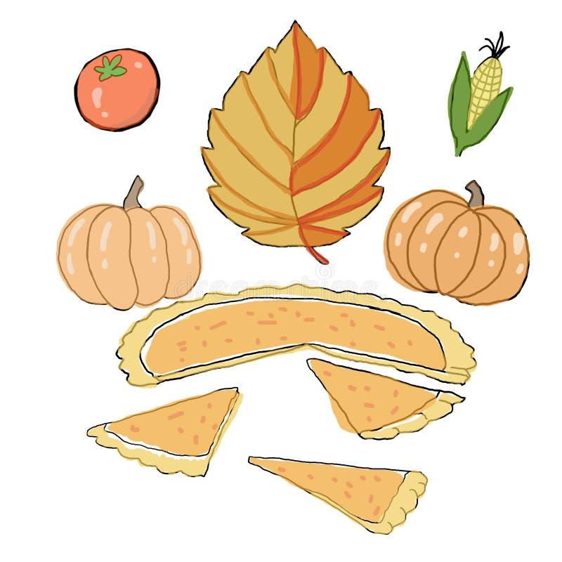 Día de la acción de gracias Hojas secas del otoño, maíz, tomates, calabazas brillantes, pastel de calabaza Según la vieja tradici ilustración del vector