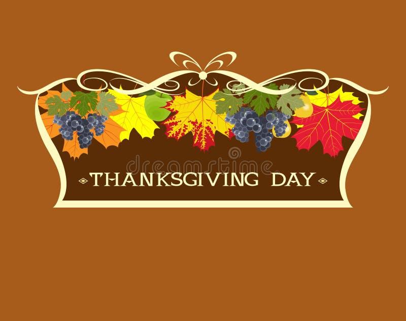Día de la acción de gracias Hojas y uvas de otoño en un marco fotografía de archivo