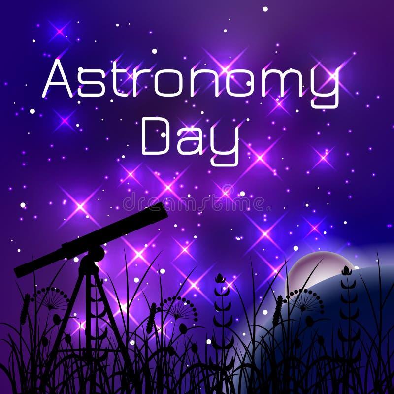 Día de la astronomía Cielo nocturno con las estrellas brillantes Silueta de un telescopio y de una hierba stock de ilustración