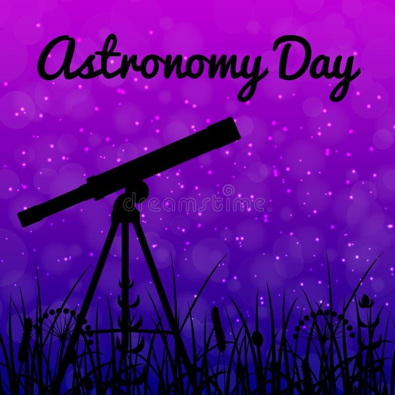 Día de la astronomía Cielo nocturno con las estrellas Silueta de un telescopio stock de ilustración