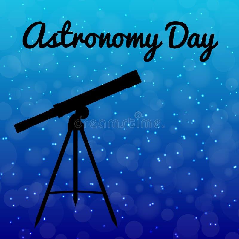 Día de la astronomía Cielo nocturno con las estrellas Silueta de un telescopio libre illustration