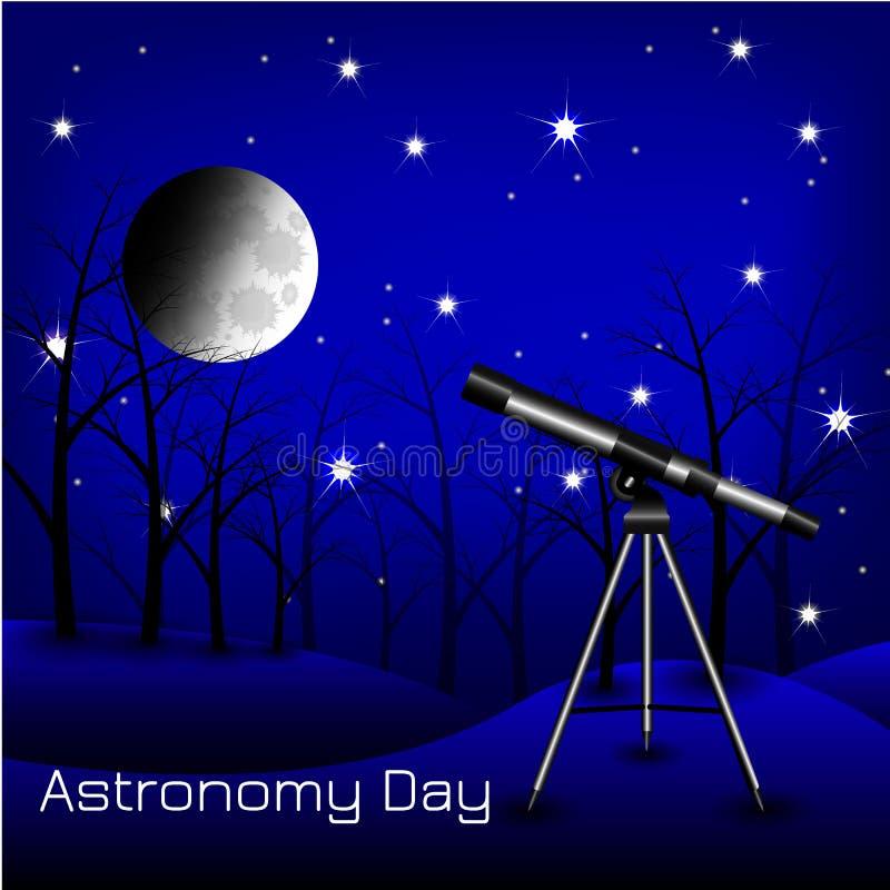 Día de la astronomía Cielo nocturno, estrellas, luna, árboles, telescopio ilustración del vector