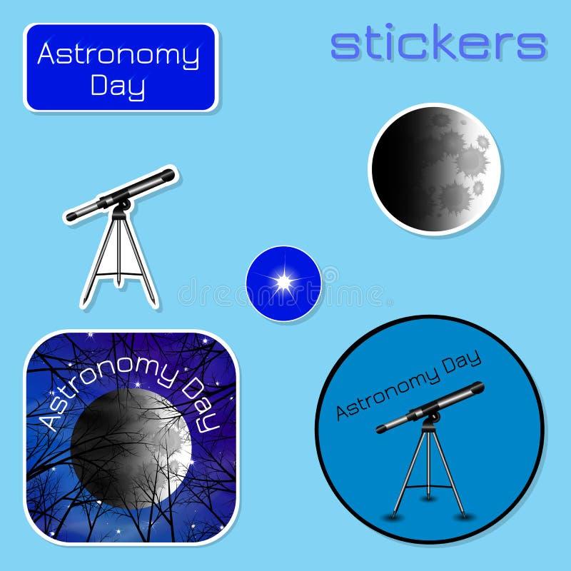 Día de la astronomía Etiquetas engomadas en sombras del azul stock de ilustración