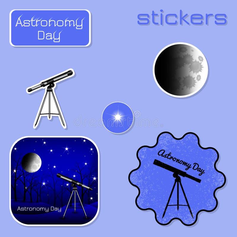 Día de la astronomía Etiquetas engomadas en sombras del azul ilustración del vector