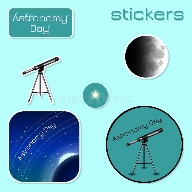 Día de la astronomía Etiquetas engomadas en sombras del verde stock de ilustración