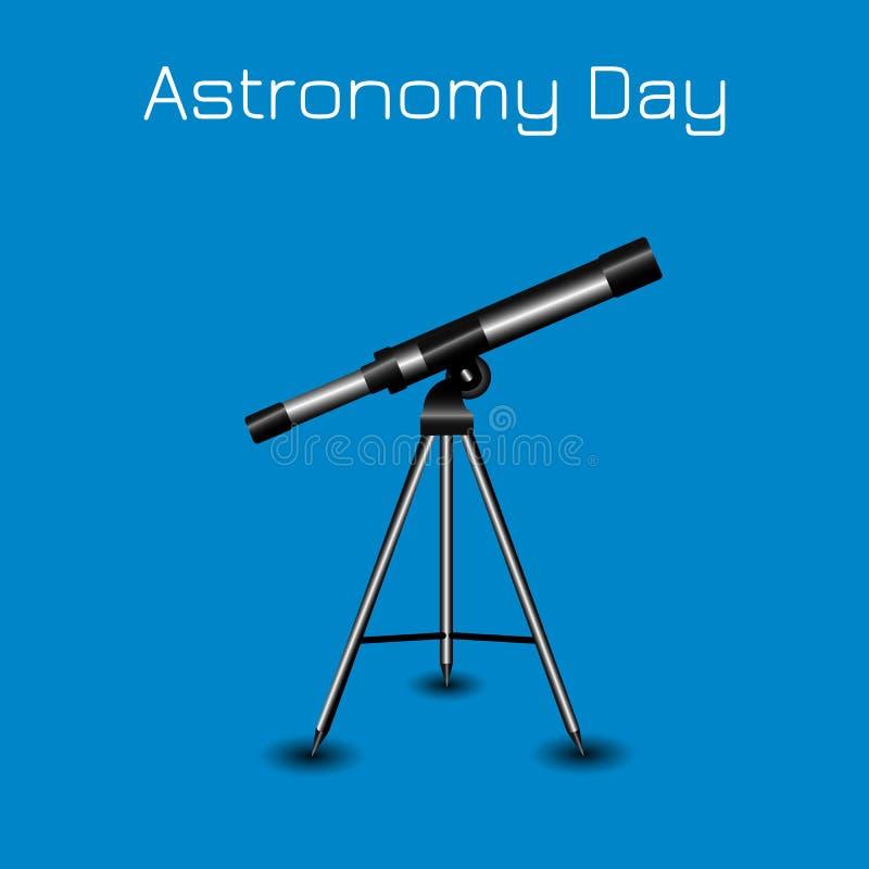 Día de la astronomía Silueta de un telescopio libre illustration