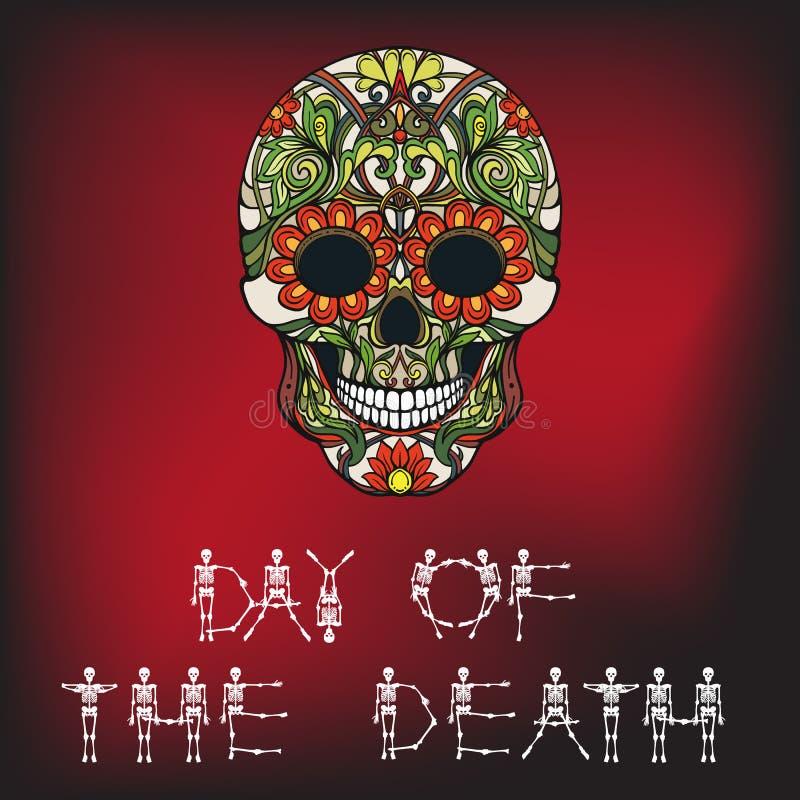 Día de la bandera de la muerte con el cráneo del azúcar ilustración del vector