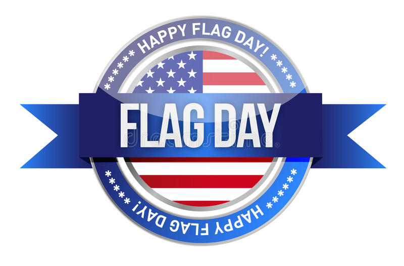 Día de la bandera. nosotros sello y bandera libre illustration