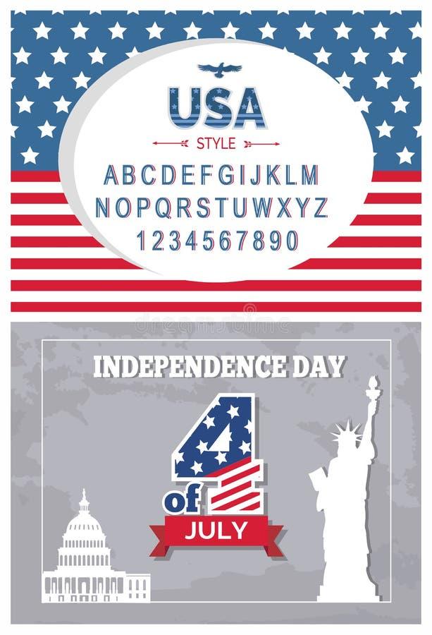 Día de la bandera tipografía cartel independencia 4 de julio determinado stock de ilustración