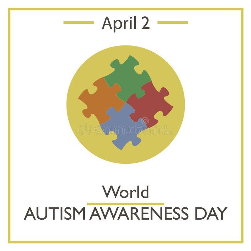 Día de la conciencia del autismo del mundo, el 2 de abril stock de ilustración