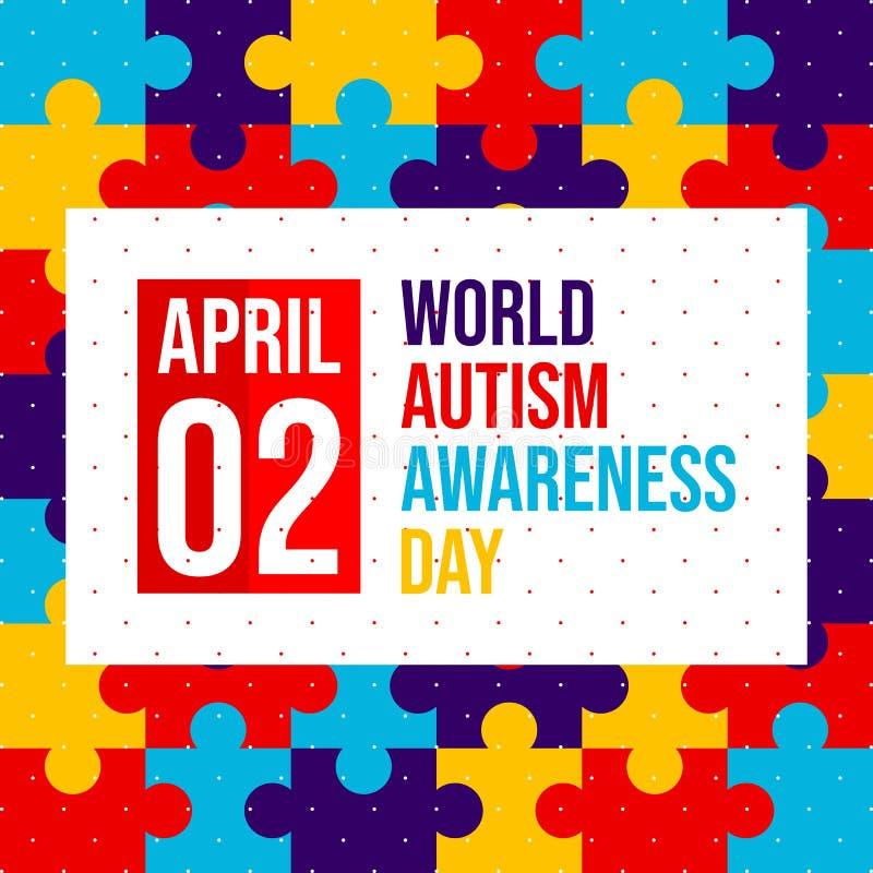 Día de la conciencia del autismo del mundo - vector stock de ilustración