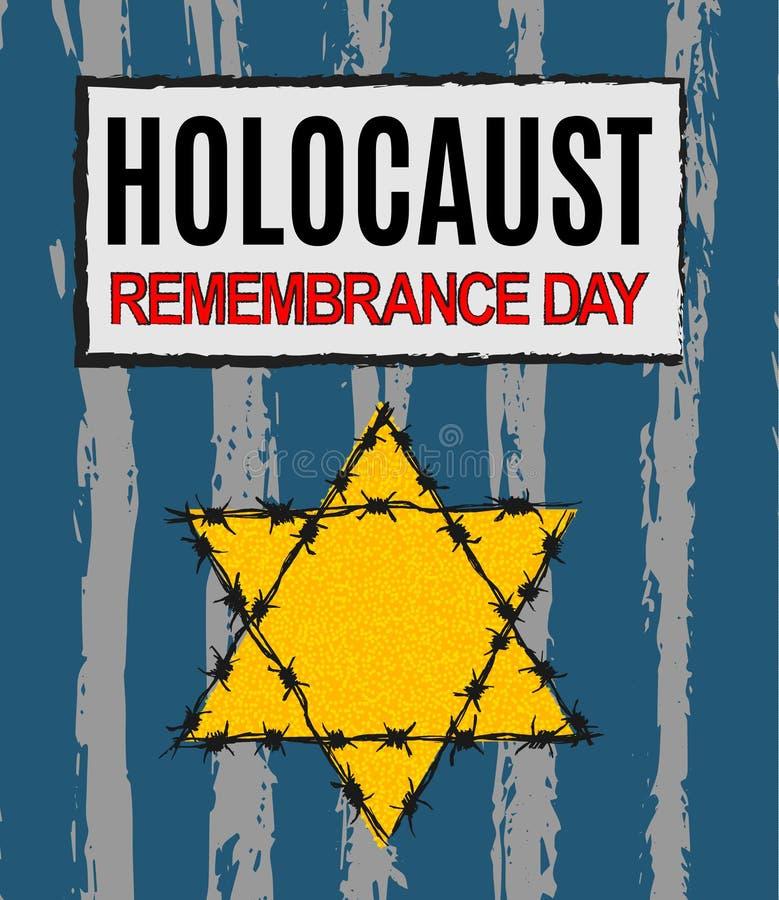 Día de la conmemoración del holocausto Nunca olvidaremos Estrella amarilla David Día internacional de campos de concentración y d ilustración del vector