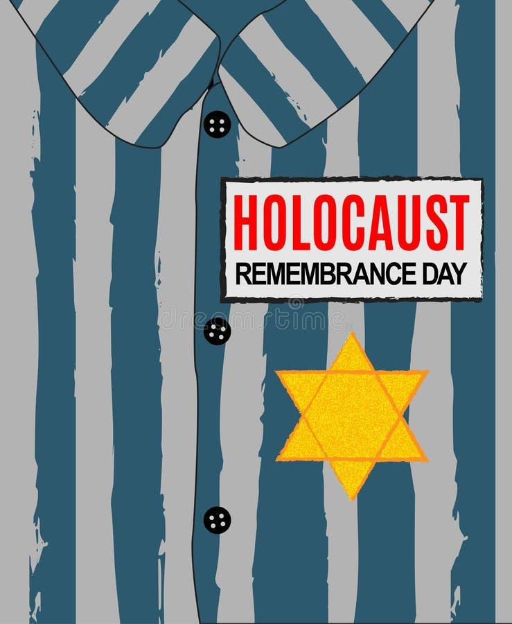 Día de la conmemoración del holocausto Nunca olvidaremos Estrella amarilla David Día internacional de campos de concentración y d libre illustration