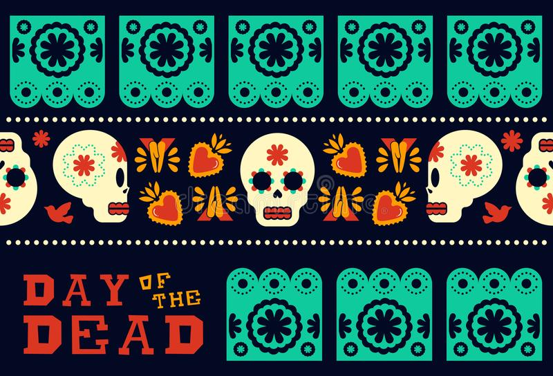 Día de la decoración moderna muerta del modelo del cráneo ilustración del vector