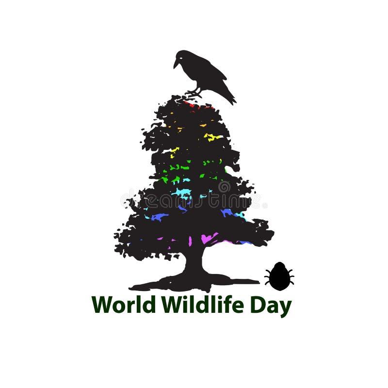 Día de la fauna del mundo 3 de marzo La silueta negra del árbol Cuervo, el escarabajo Ilustración del vector ilustración del vector