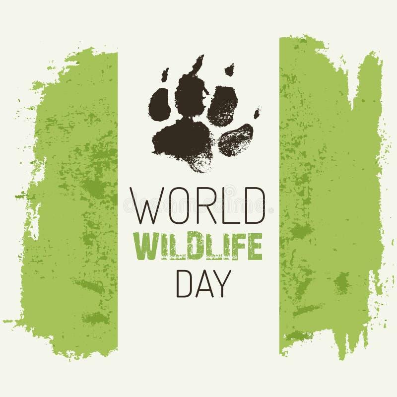 Día de la fauna del mundo - vector el cartel con huella del lobo stock de ilustración