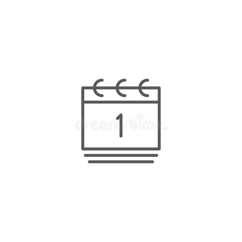 Día de la fecha del calendario símbolo de icono de vector aislado en fondo blanco ilustración del vector