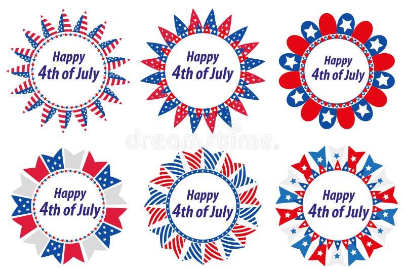 Día de la Independencia América, los E.E.U.U. Sistema de bastidores redondos con las banderas Colección de elementos decorativos  stock de ilustración