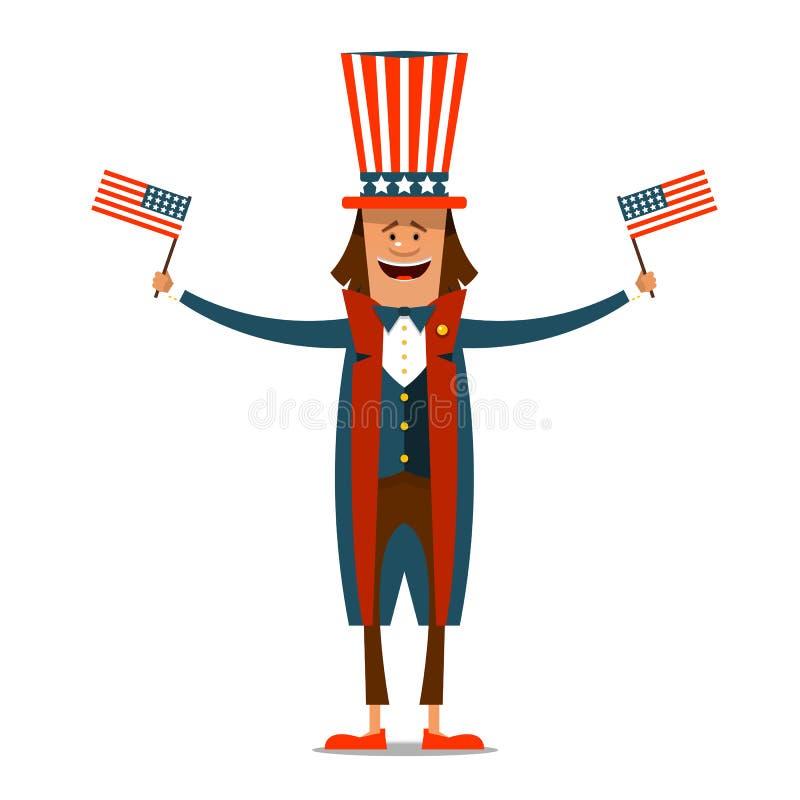 Día de la Independencia americano El 4 de julio Hombre en c tradicional ilustración del vector