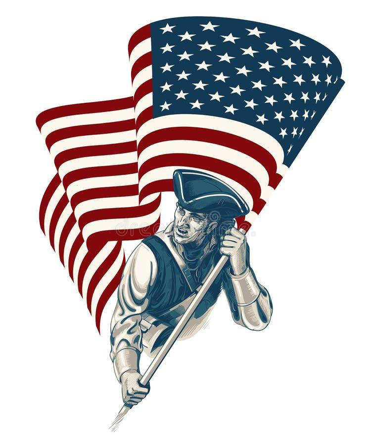 Día de la Independencia - cuarto del ejemplo del vintage del vector de julio stock de ilustración