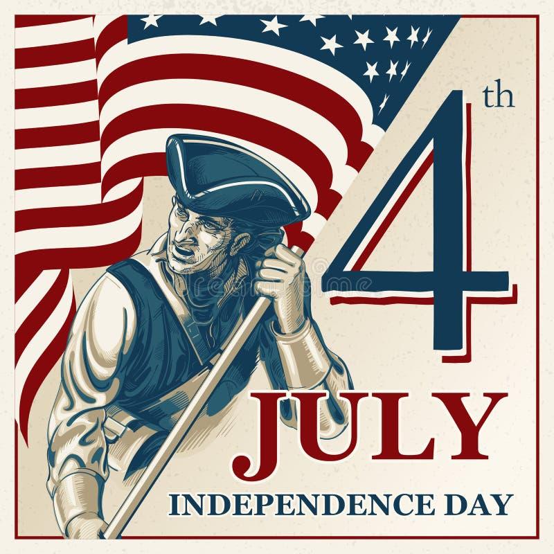 Día de la Independencia - cuarto del ejemplo del vintage del vector de julio ilustración del vector