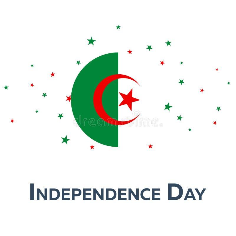 Día de la Independencia de Argelia Bandera patriótica Ilustración del vector libre illustration